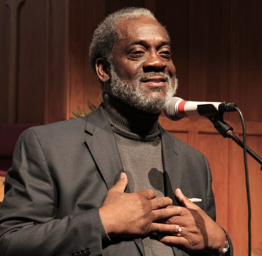 The Rev. Eddie Jordan expresses his appreciation for those who are assisting with prayers and financial gifts in his quest to get a kidney, at Friday's gospel music benefit at St. Paul UMC.