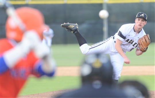 Abilene High starter Bailey Aulerich throws a pitch to a San Angelo Central batter in the fourth inning. Aulerich pitched 51/3 innings and got the victory in the Eagles' 12-8 victory over Central in the District 3-6A baseball game Friday, April 12, 2019, at Blackburn Field.