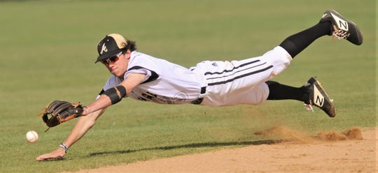 Abilene High shortstop Kallin Sipe tries to make a diving stop on Cole Nelson's single in the second inning. Nelson later scored in the two-run second inning for San Angelo Central, but AHS answered with an eight-run outburst in the bottom of the inning. The Eagles beat Central 12-8 in the District 3-6A game Friday, April 12, 2019, at Blackburn Field.
