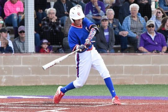 Cooper's Jack Keefer (2) connects on a base hit against Wylie on April 12 at Bulldog Field. Keefer also drew two walks and scored in the 4-3 loss. Keefer returns this season, along with nine other players, including seven starters, from last year's team.