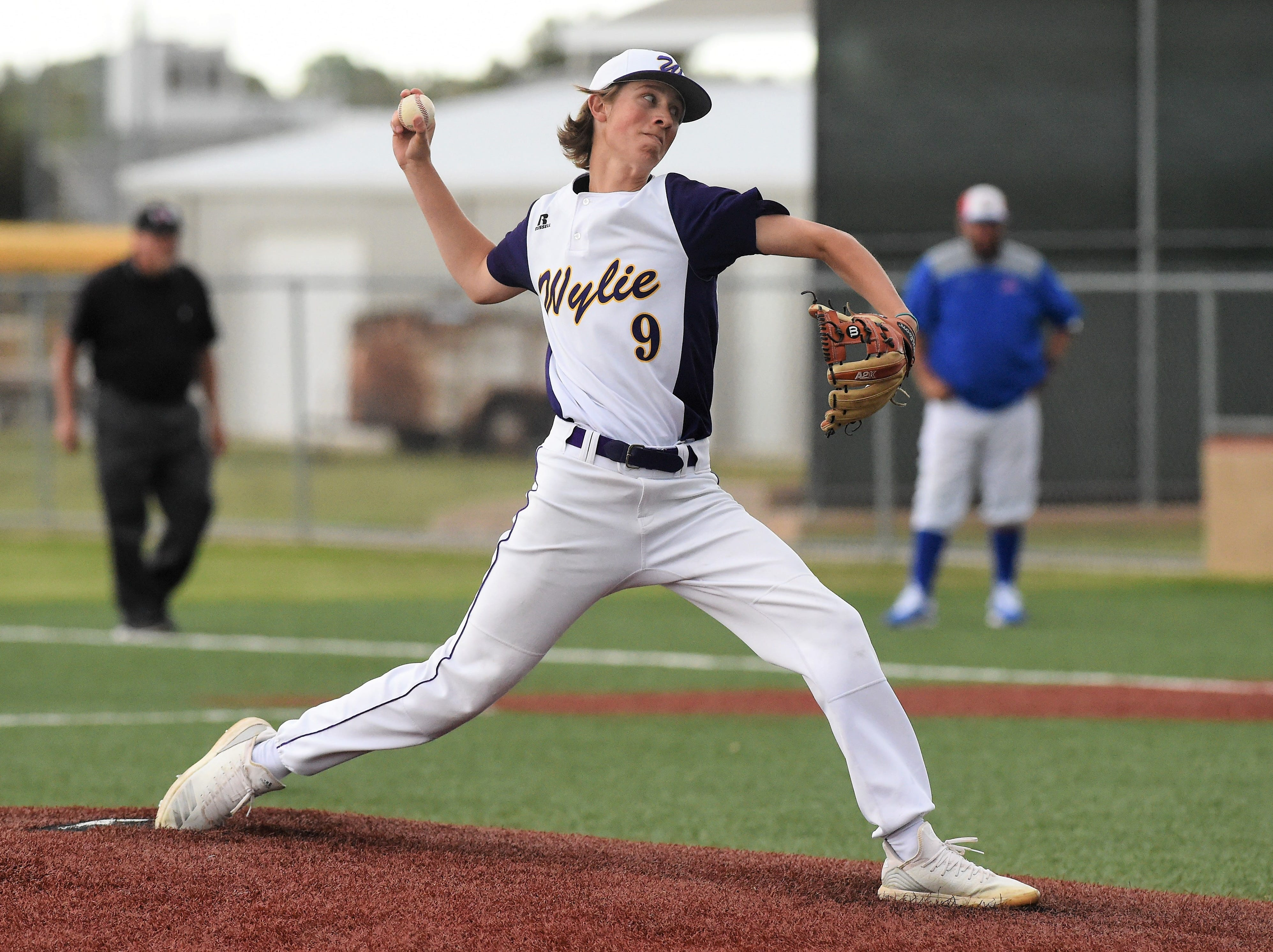 Wylie pitcher Brooks Gay (9) delivers to the plate against Cooper at Bulldog Field on Friday, April 12, 2019. Gay allowed two hits and struck out three in six innings of work.