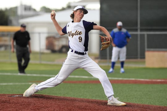 Wylie's Brooks Gay (9) started Game 3 of the bi-district series against Lubbock-Cooper. Gay worked five solid innings before running into trouble in the sixth. The Bulldogs won the game in eight innings to win the series.