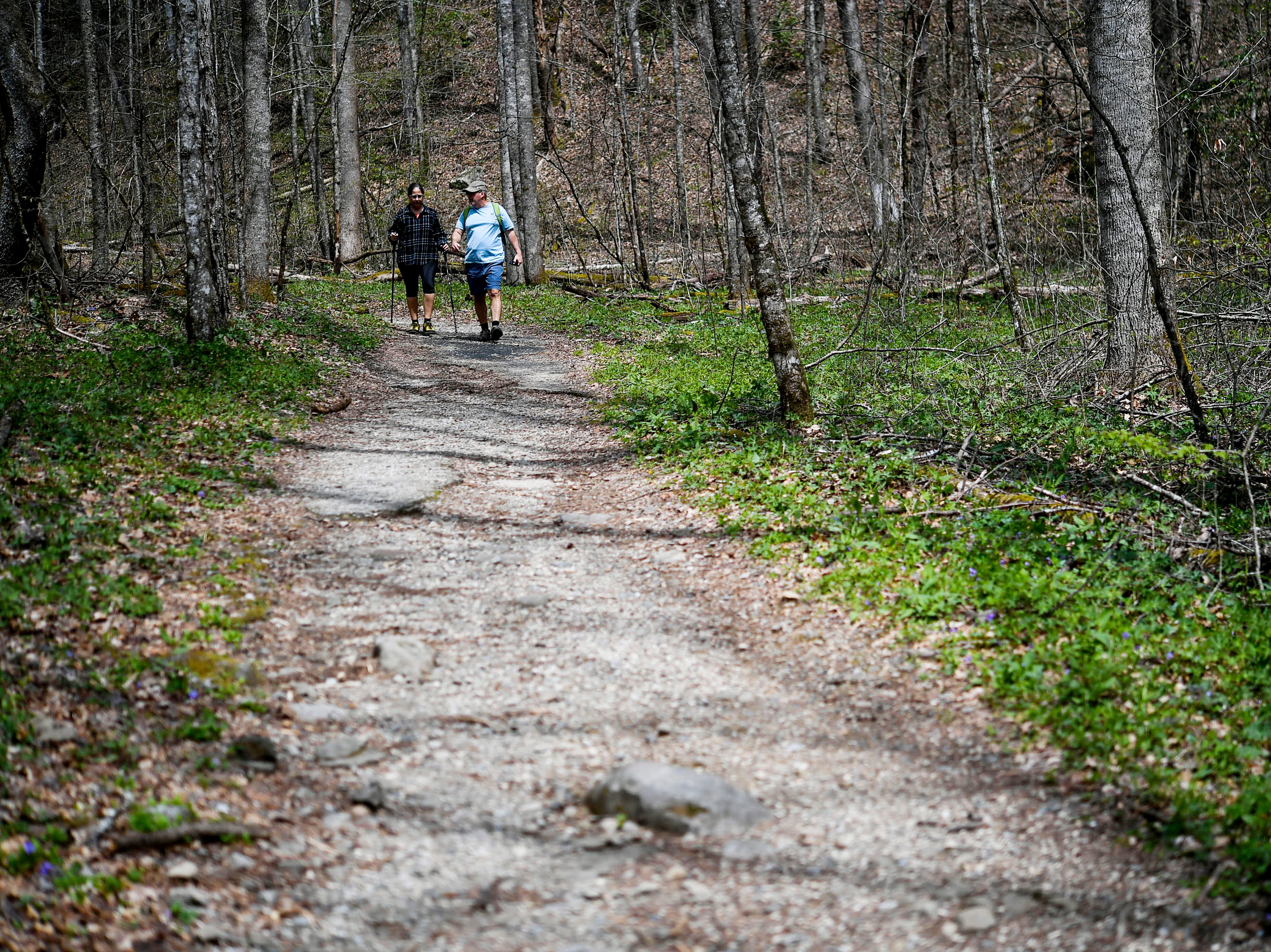Hikers walk along the Kephart Prong Trail in Great Smoky Mountains National Park April 11, 2019.