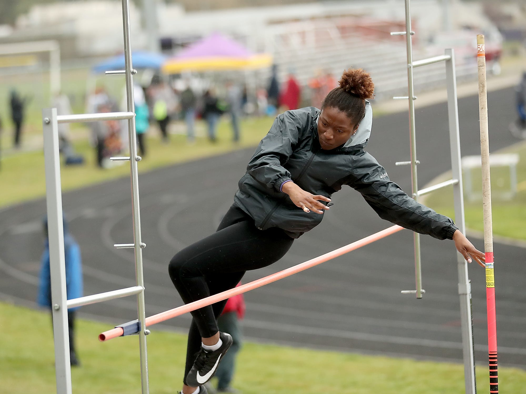 North Kitsap's Ariea Hickmon clears the pole vault bar during the Lil' Norway Invitational at North Kitsap High School in Poulsbo on Saturday, April13, 2019.