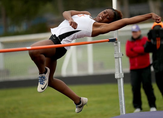Central Kitsap's Christaysha McDowell clears the high jump bar during the Lil' Norway Invitational at North Kitsap High School in Poulsbo on Saturday, April13, 2019.