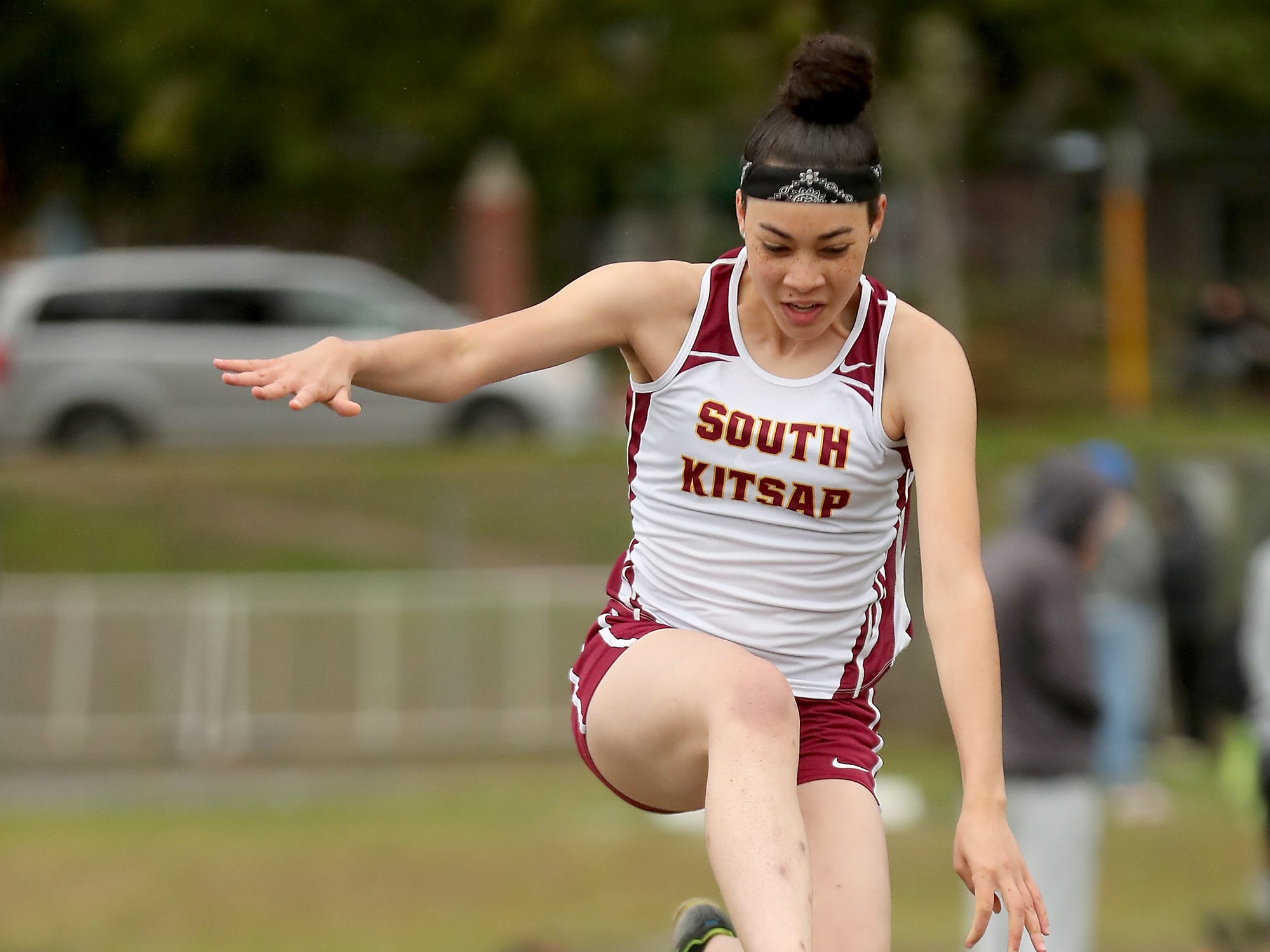 South Kitsap's Audrey Green competes in the long jump at the Lil' Norway Invitational at North Kitsap High School in Poulsbo on Saturday, April13, 2019.