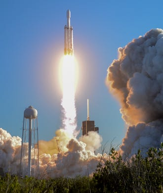A SpaceX Falcon Heavy takes off from Pad 39A at the Kennedy Space Center on Thursday night. The rocket carries the communications satellite Arabsat 6A for Saudi Arabia. </span></p> </div> </div> <div class=