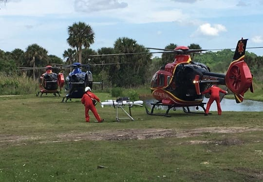 Rescue helicopters were at the scene Saturday afternoon, after several people were injured in a rollover crash on State Road 46 in Mims.