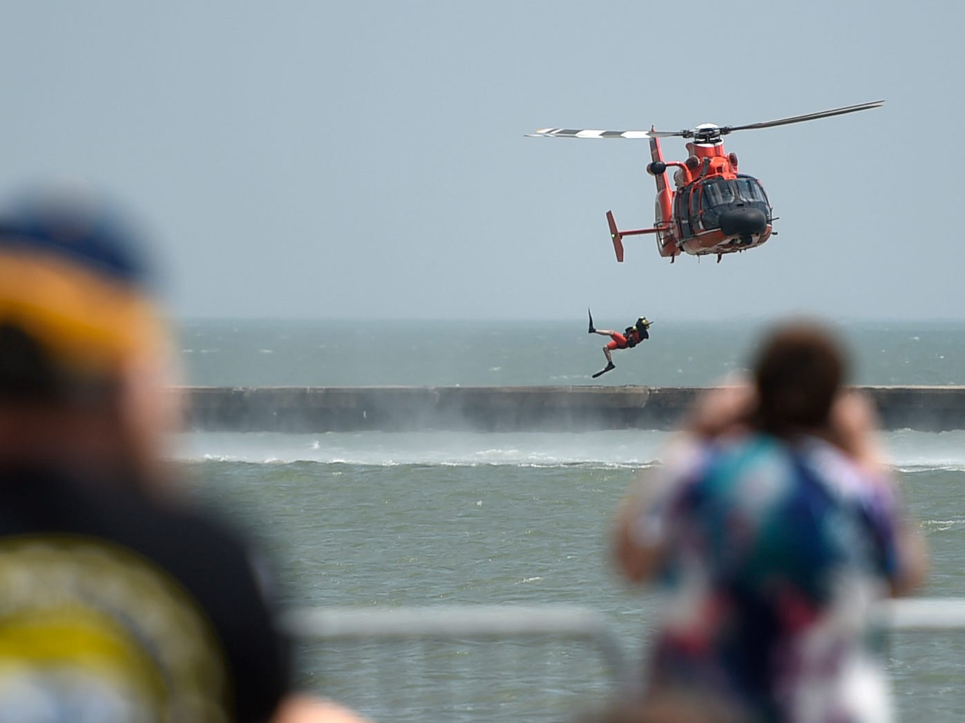 The Coast Guard hosts a rescue demonstration during the Wings Over South Texas Air Show, Saturday, April 13, 2019, at NAS Corpus Christi.