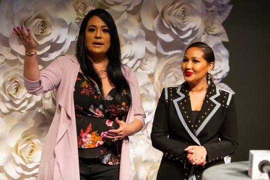Suzette Quintanilla and Adrienne Bailon Houghton talk to the media in the Selena auditorium during the second say of Fiesta de la Flor on Saturday, April 13, 2019.