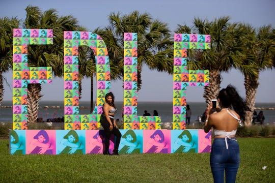 A women dressed as Selena has her photo taken during Fiesta de la Flor on April 13, 2019.