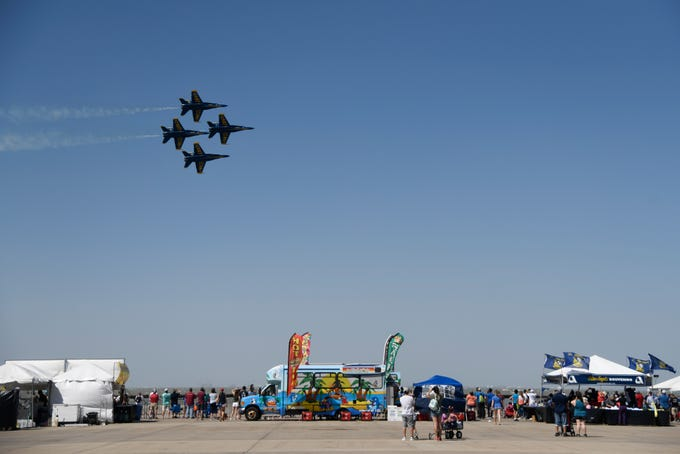 The Wings Over South Texas Air Show hosts numerous acrobatics, including the Blue Angels, Saturday, April 13, 2019, at NAS Corpus Christi.