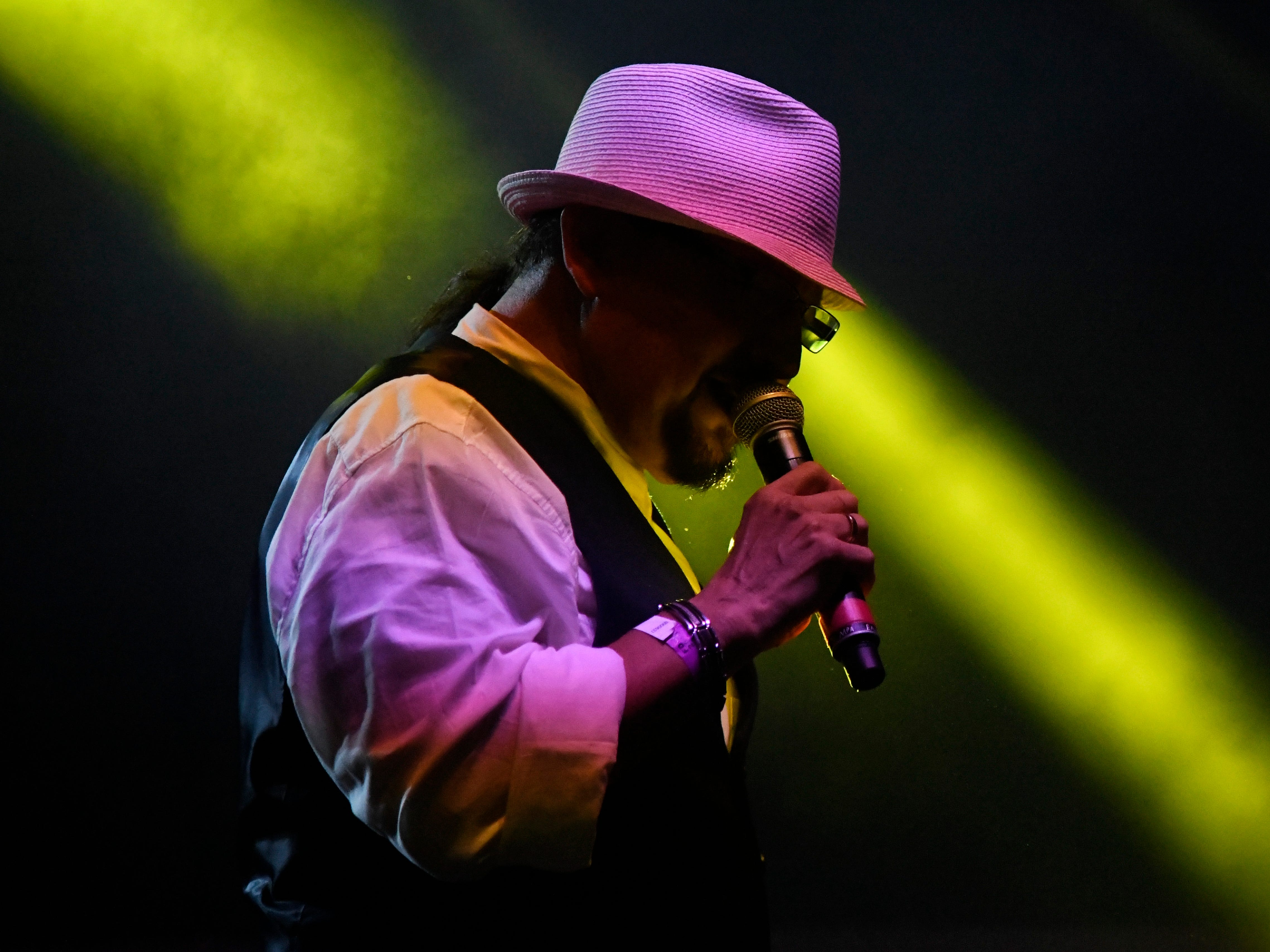 David Marez sings during the Gilbert Velasquez and Friends set during the first day of Fiesta de la Flor, Friday, April 12, 2019, at American Bank Center.