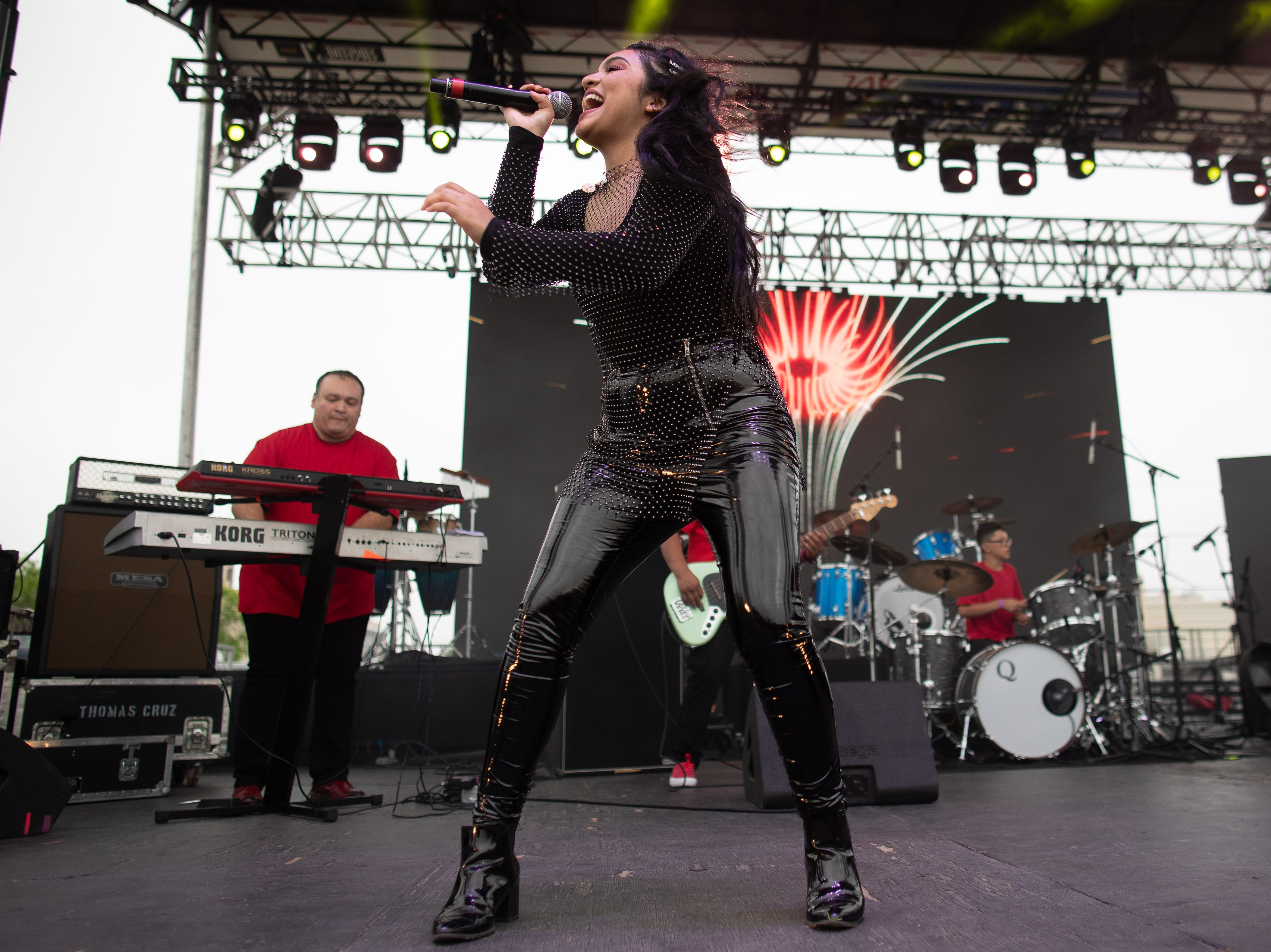 Isabel Mrez performs during the first day of Fiesta de la Flor on Friday, April 12, 2019.