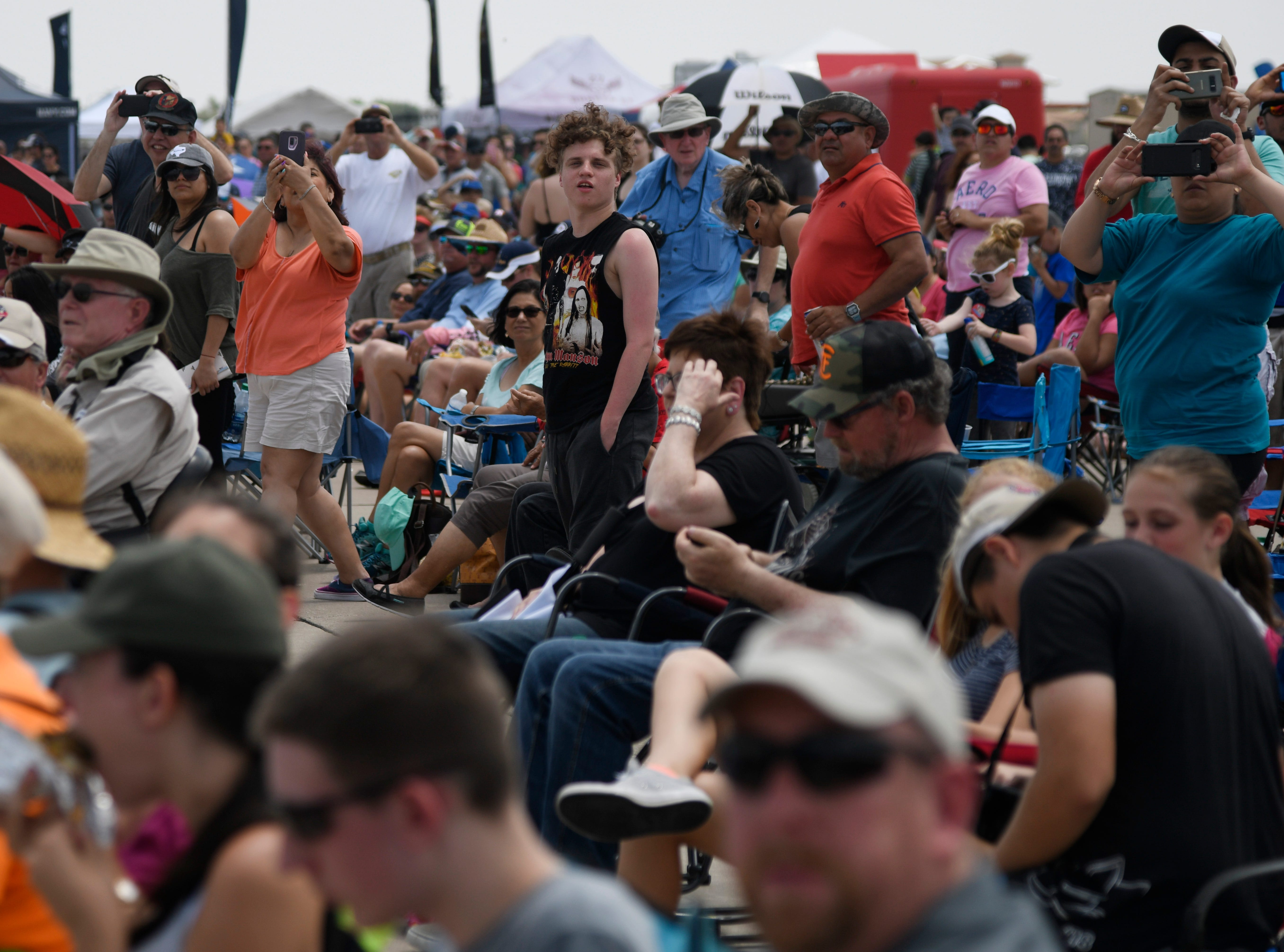 Attendees watch a performance during the Wings Over South Texas Air Show, Saturday, April 13, 2019, at NAS Corpus Christi.