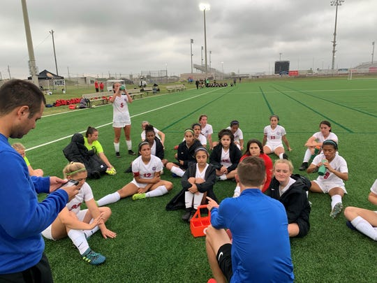Gregory-Portland took on Dripping Springs in the Class 5A girls soccer semifinals at Cabaniss Field on Friday.