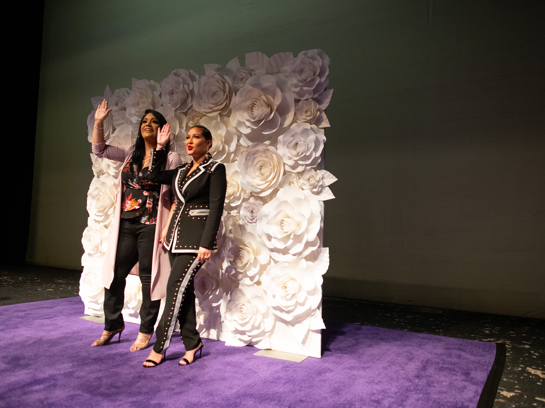 Adrienne Bailon Houghton and Suzette Quintanilla talk to the media in the Selena auditorium during the second say of Fiesta de la Flor on Saturday, April 13, 2019.