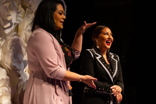 Suzette Quintanilla and Adrienne Bailon Houghton talk to the media in the Selena auditorium during the second say of Fiesta de la Flor on Saturday, April 13, 2019.