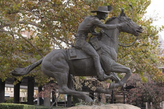 The Pony Express statue, by sculptor Thomas Holland in Old Sacramento, California, celebrates the arrival of the Pony Express in 1860.