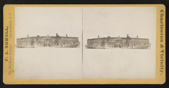 Photograph shows a wide angle view of Fort Sumter after the bombardment in April 1861.