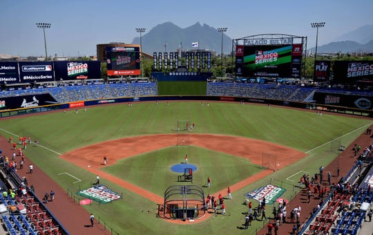 A general view of Estadio de Beisbol Monterrey as the Cincinnati Reds take batting practice before the game against the St. Louis Cardinals.