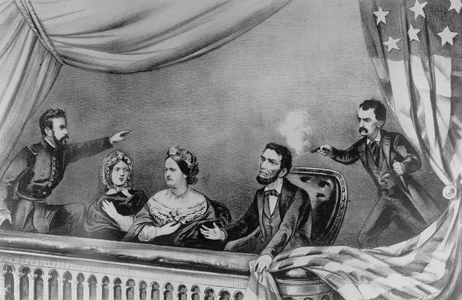 An illustration depicts actor John Wilkes Booth shooting President Abraham Lincoln at Ford's Theatre in Washington, D.C., on April 14, 1865.