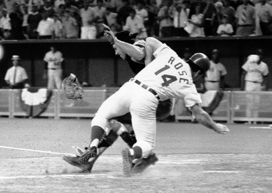 July 14, 1970: National League's Pete Rose collides with American League catcher Ray Fosse as he scores the winning run during the 12th inning of the 1970 All-Star Game in Cincinnati.