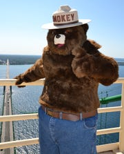 The Michigan Department of Natural Resources uses Smokey Bear suits to discuss fire prevention throughout the state.