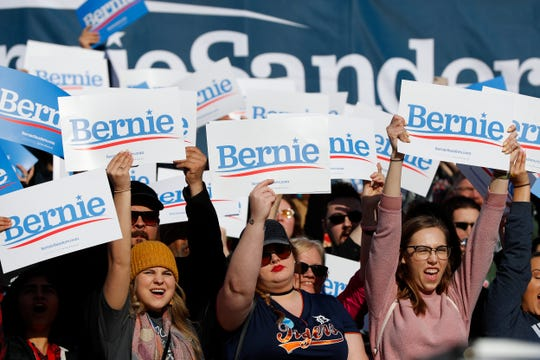 Supporters cheer for Democratic presidential candidate Sen. Bernie Sanders, I-Vt., during a rally in Warren, Mich., Saturday, April 13, 2019.