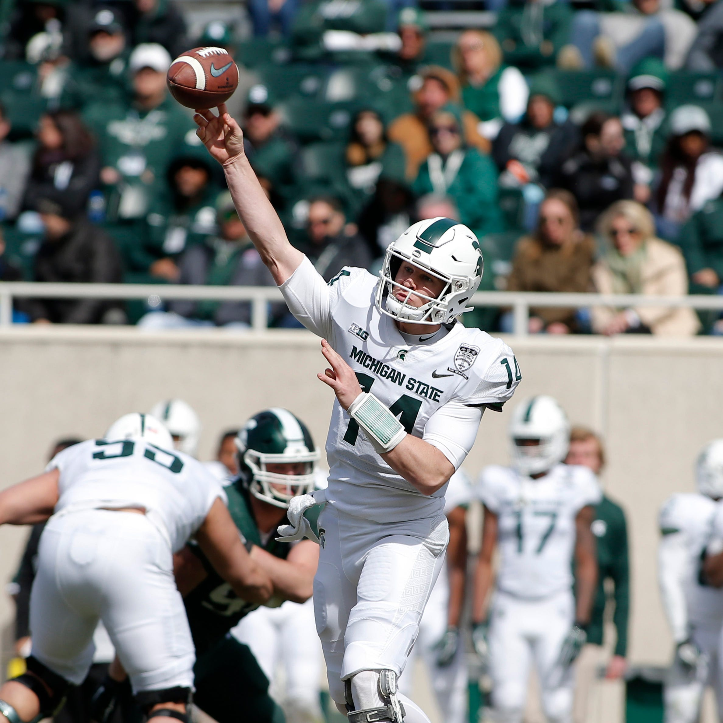 """MSU football game: Brian Lewerke looks healthy, sound sharp """"class ="""" more-section stories-thumb"""