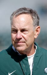 Michigan State coach Mark Dantonio during a spring scrimmage Saturday, April 13, 2019, in East Lansing.