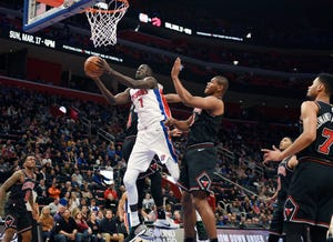 Thon Maker (7) will be facing his former team when the Pistons take on the Bucks in the playoffs.
