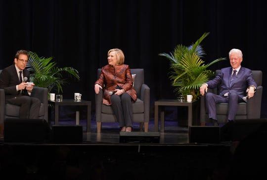 President Bill Clinton, former Secretary of State Hillary Rodham Clinton and moderator/actor Ben Stiller.