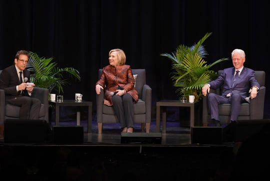 President Bill Clinton, former Secretary of State Hillary Rodham Clinton and moderator/actor Ben Stiller.