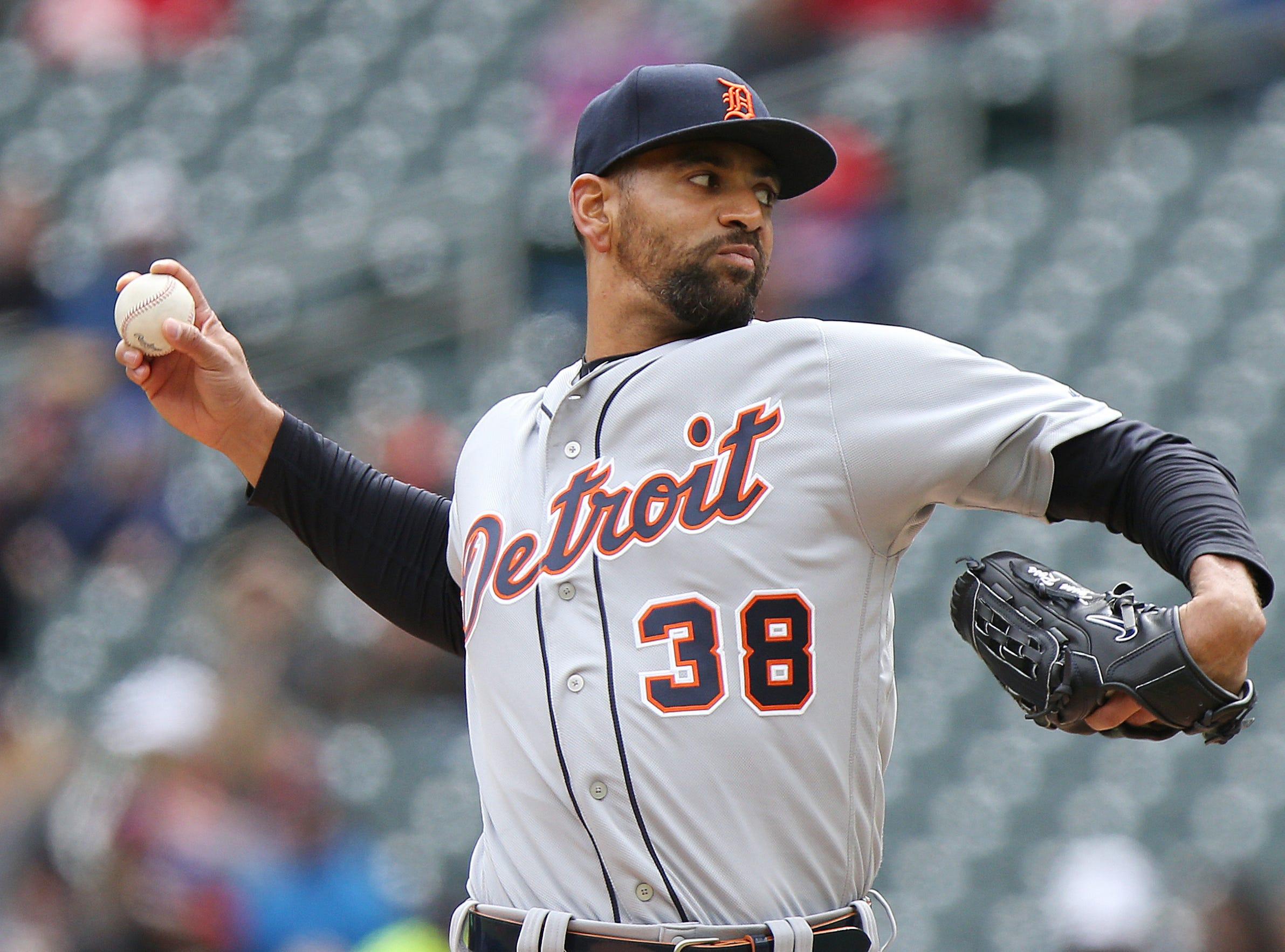Detroit Tigers pitcher Tyson Ross throws in the first inning of a baseball game against the Minnesota Twins, Saturday, April 13, 2019 in Minneapolis. (AP Photo/Stacy Bengs)