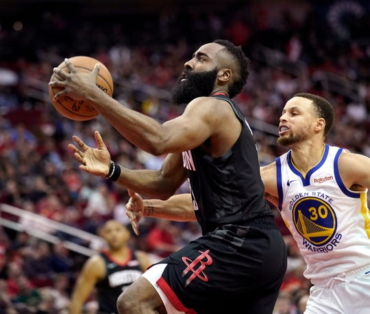 Rockets' James Harden, left, is vying to join the 3,000-point club while Warriors' Stephen Curry (30) is looking to reach the NBA Finals for the fifth straight season.