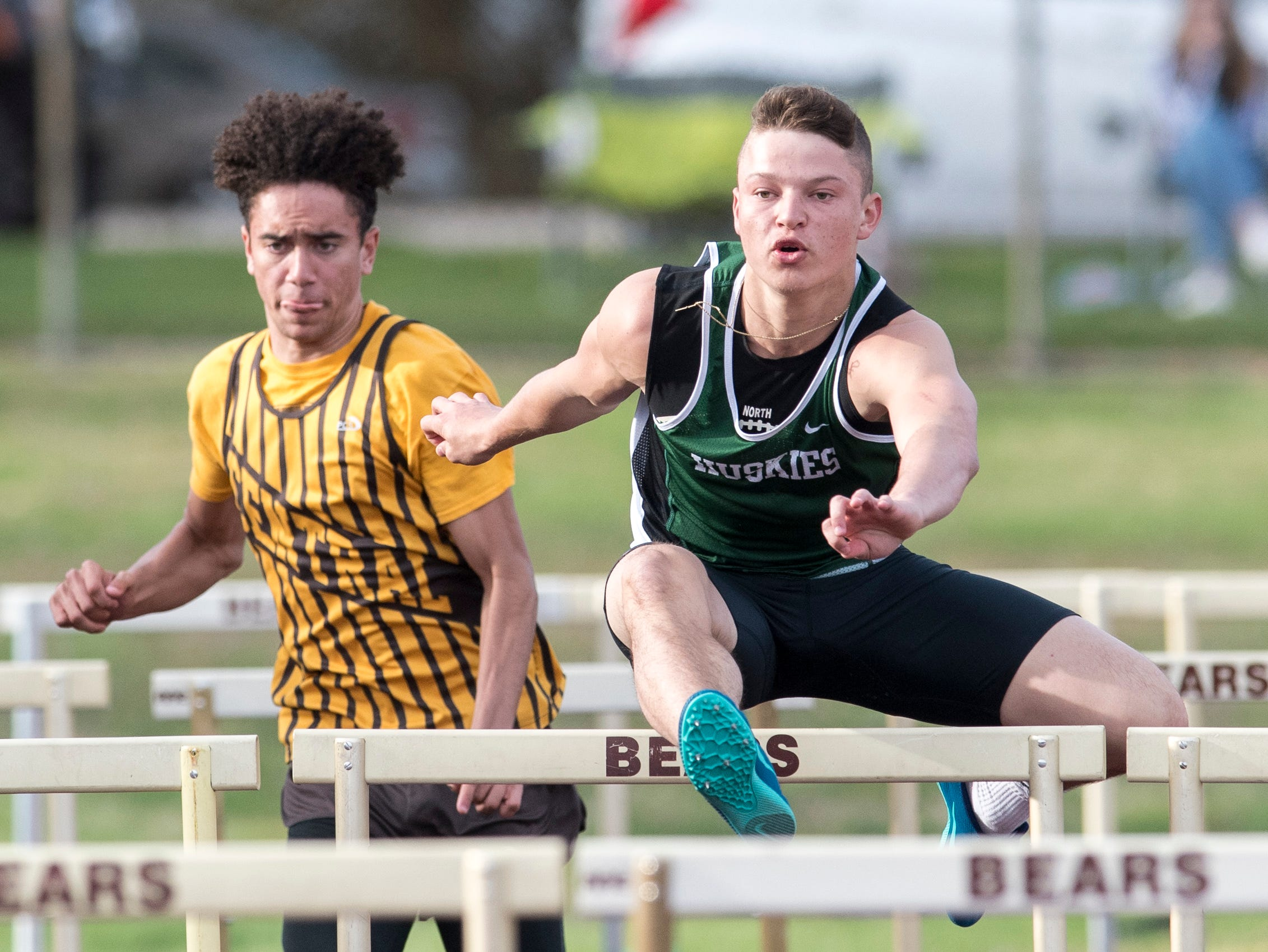 North's Dylan McKinney clears a hurdle in the boys 110m high hurdle event during the 2019 City Track and Field meet atCentral High School Friday, April 12, 2019.  McKinney took first place in the event at 15.7 seconds.