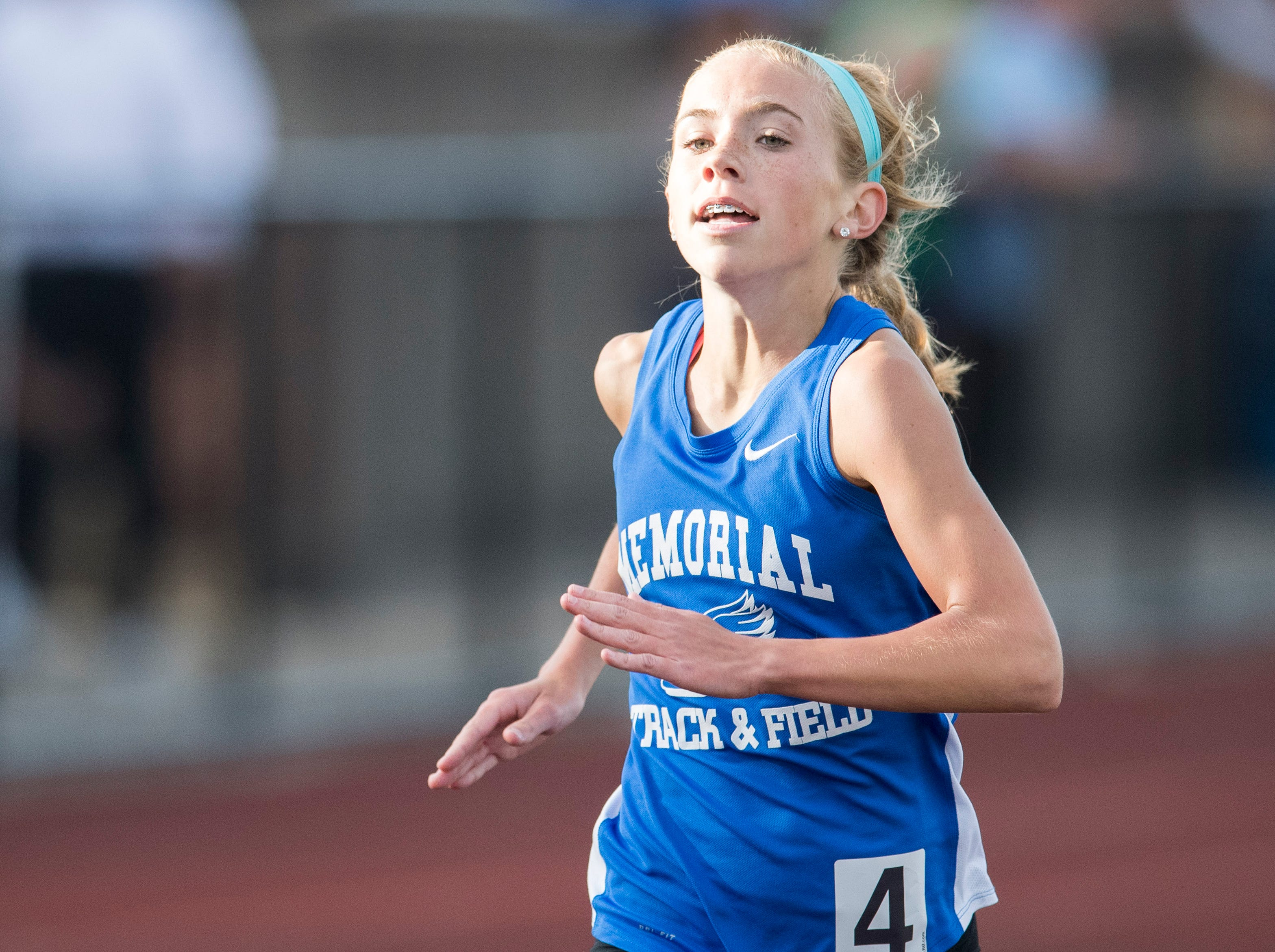 Memorial's Jacqueline Brasseale runs in the girls 1600m run event  during the 2019 City Track and Field meet at Central High School Friday, April 12, 2019.  Brasseale placed first in the event at five minutes and 18.21 seconds