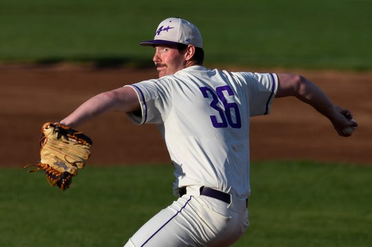 University of Evansville pitcher Adam Lukas (36) as the Evansville Aces play Indiana University at Evansville's Braun Stadium April 12, 2019.