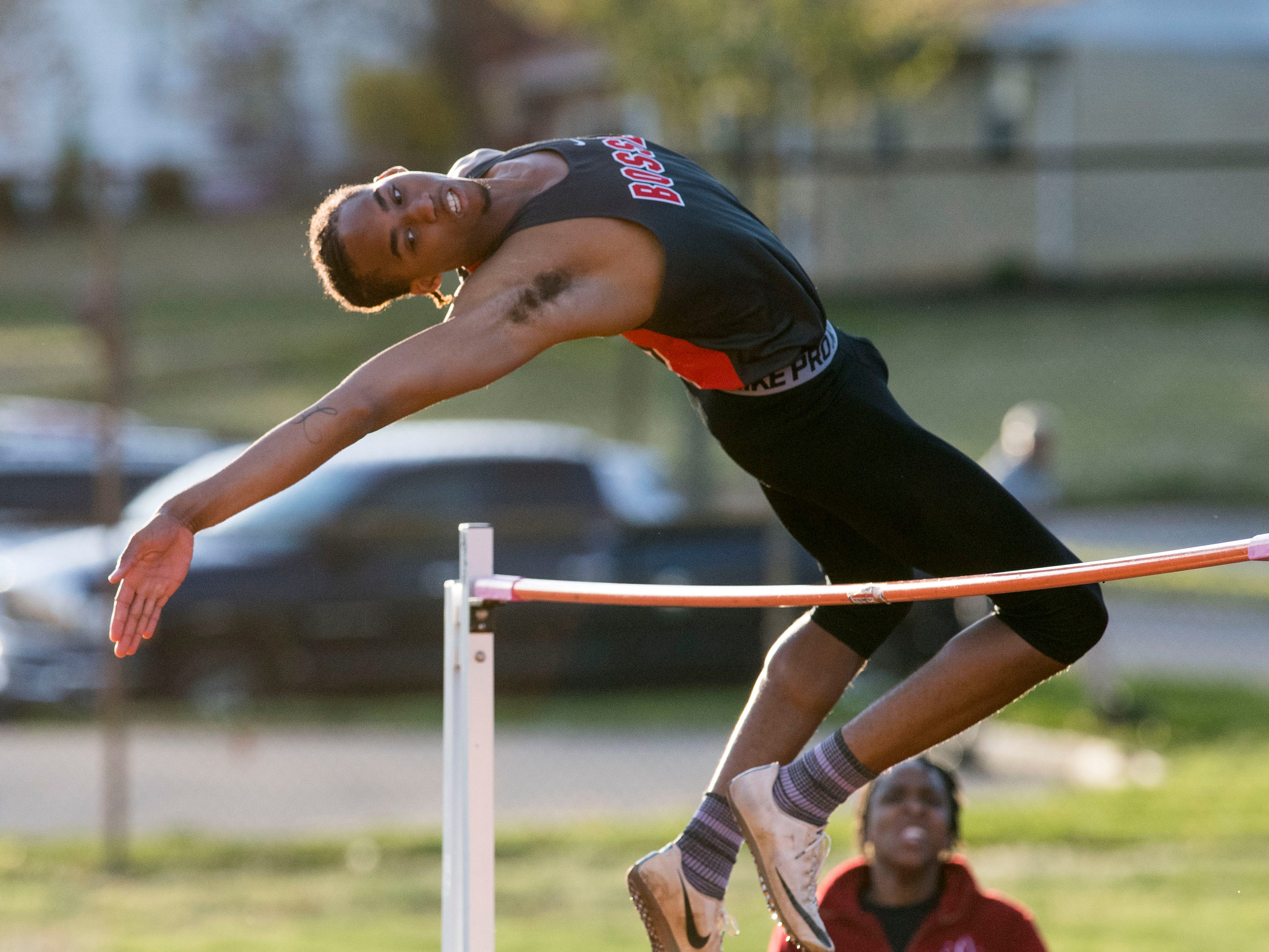 Bosse's George Madison clears the pole in the high jump event during the 2019 City Track and Field meet at Central High School Friday, April 12, 2019.