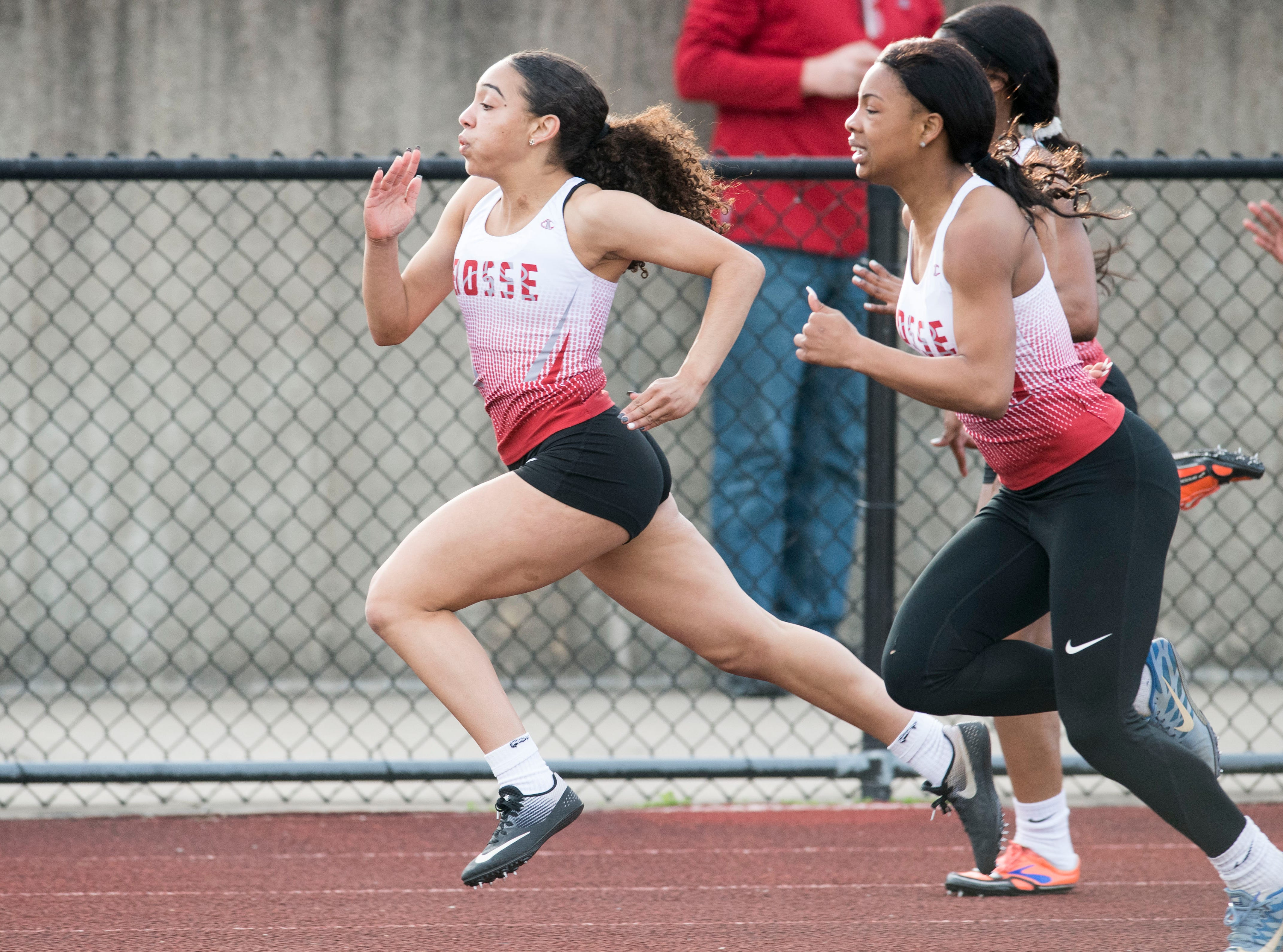 Bosse's Mallory Landor leads the pack in the girls 100m dash event during the 2019 City Track and Field meet at Central High School Friday, April 12, 2019.