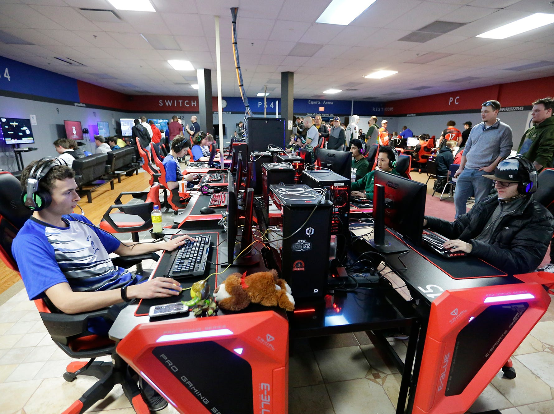 Students from dozens of schools throughout Wisconsin take part in the Wisconsin High School Esports Association's State Championship Saturday, April 13, 2019 at Game On in Fond du Lac Wisconsin. Teams compete in 4 games during the event. Overwatch, Rocket League, League of Legends, and Smash Ultimate. Doug Raflik/USA TODAY NETWORK-Wisconsin