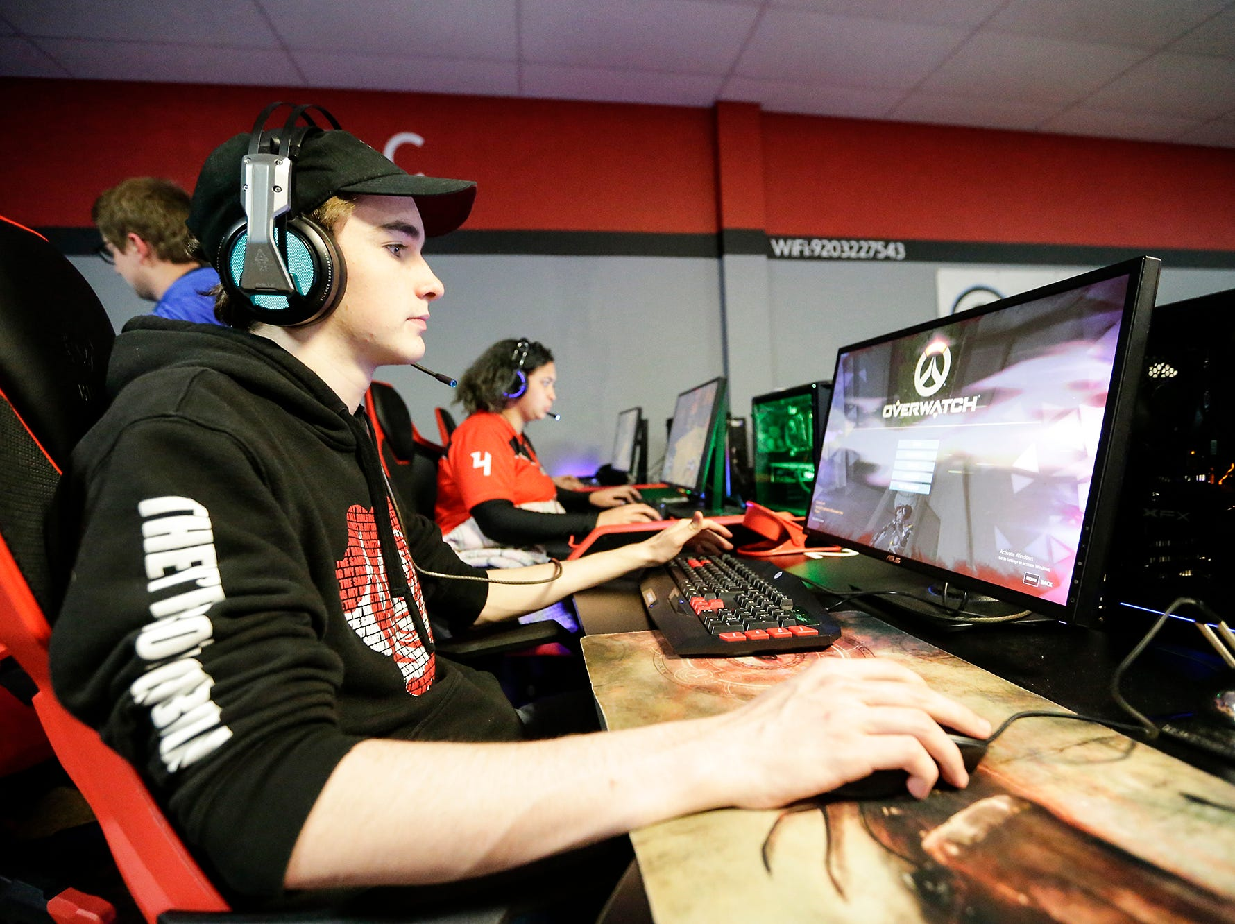 Robert Clark of Racine is one of dozens of Students from schools throughout Wisconsin taking part in the Wisconsin High School Esports Association's State Championship Saturday, April 13, 2019 at Game On in Fond du Lac Wisconsin. Teams compete in 4 games during the event. Overwatch, Rocket League, League of Legends, and Smash Ultimate. Doug Raflik/USA TODAY NETWORK-Wisconsin