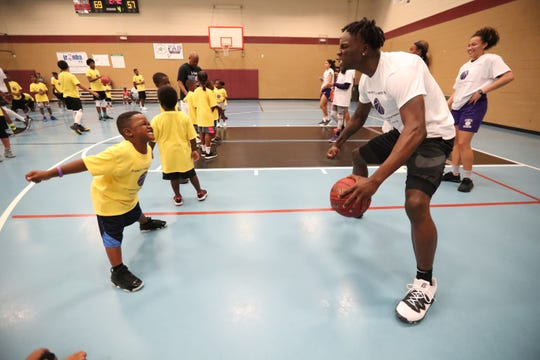"""""""Show me your tough face"""" Emmitt Williams asked the young campers. Emmitt Williams, a Fort Myers native who played at Lehigh his freshman year and just finished his freshman season at LSU, declared for the NBA Draft on Thursday night. Williams hosted a youth camp at the STARS Complex in Fort Myers, FL, on Saturday, April 13, 2019."""