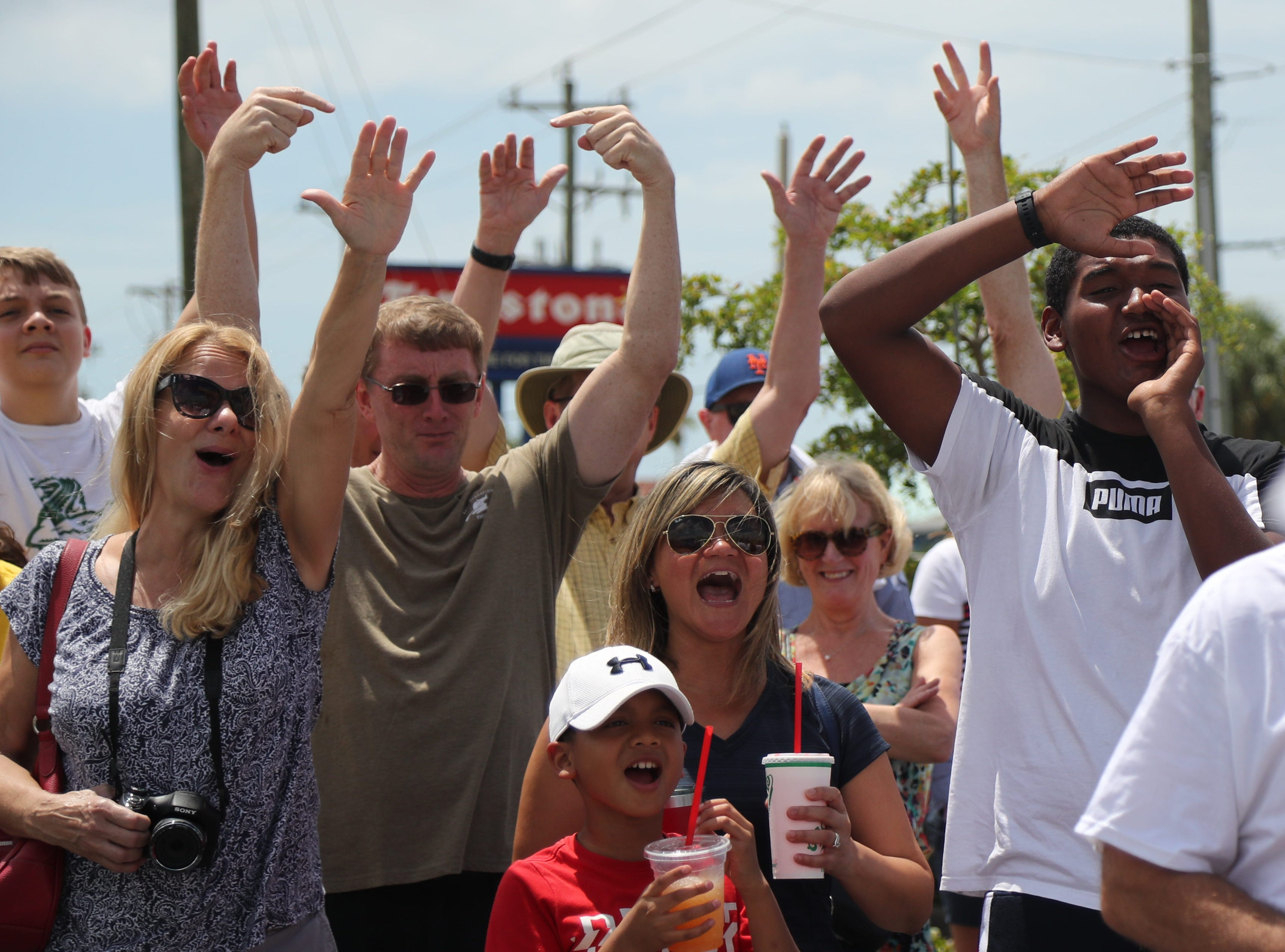 Audience members cheer at the Nathan's Famous Hot Dog Eating Contest on Saturday, April 13, 2019, in Cape Coral.