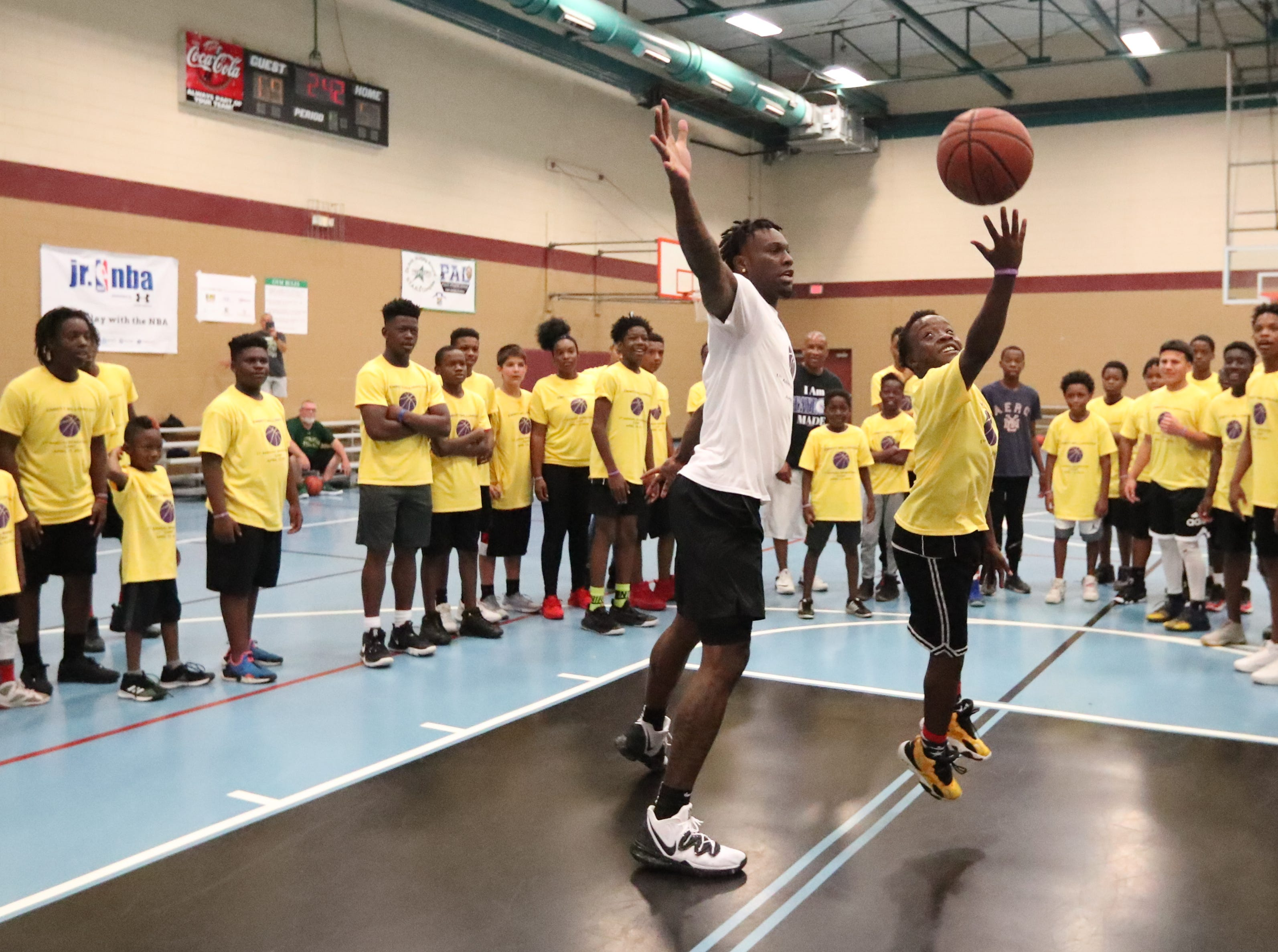 Jardarian Gayle, 13, takes on Emmitt Williams on a break. Emmitt Williams, a Fort Myers native who played at Lehigh his freshman year and just finished his freshman season at LSU, declared for the NBA Draft on Thursday night. Williams hosted a youth camp at the STARS Complex in Fort Myers, Fla., on Saturday, April 13, 2019.