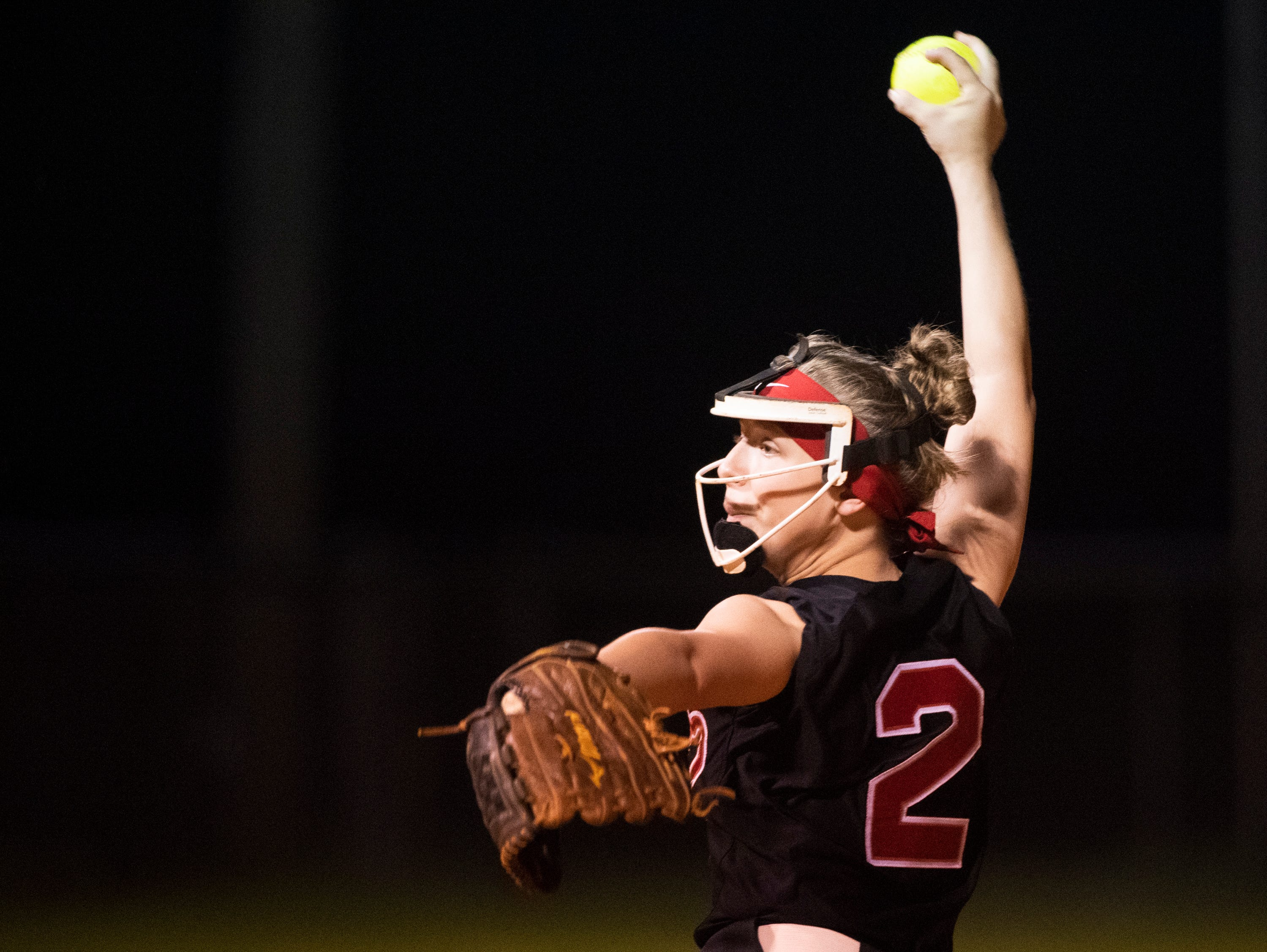 Hillcrest's Kristyn Ezzo (2) pitches against Boiling Springs High School during the game at Hillcrest Friday, April 12, 2019.