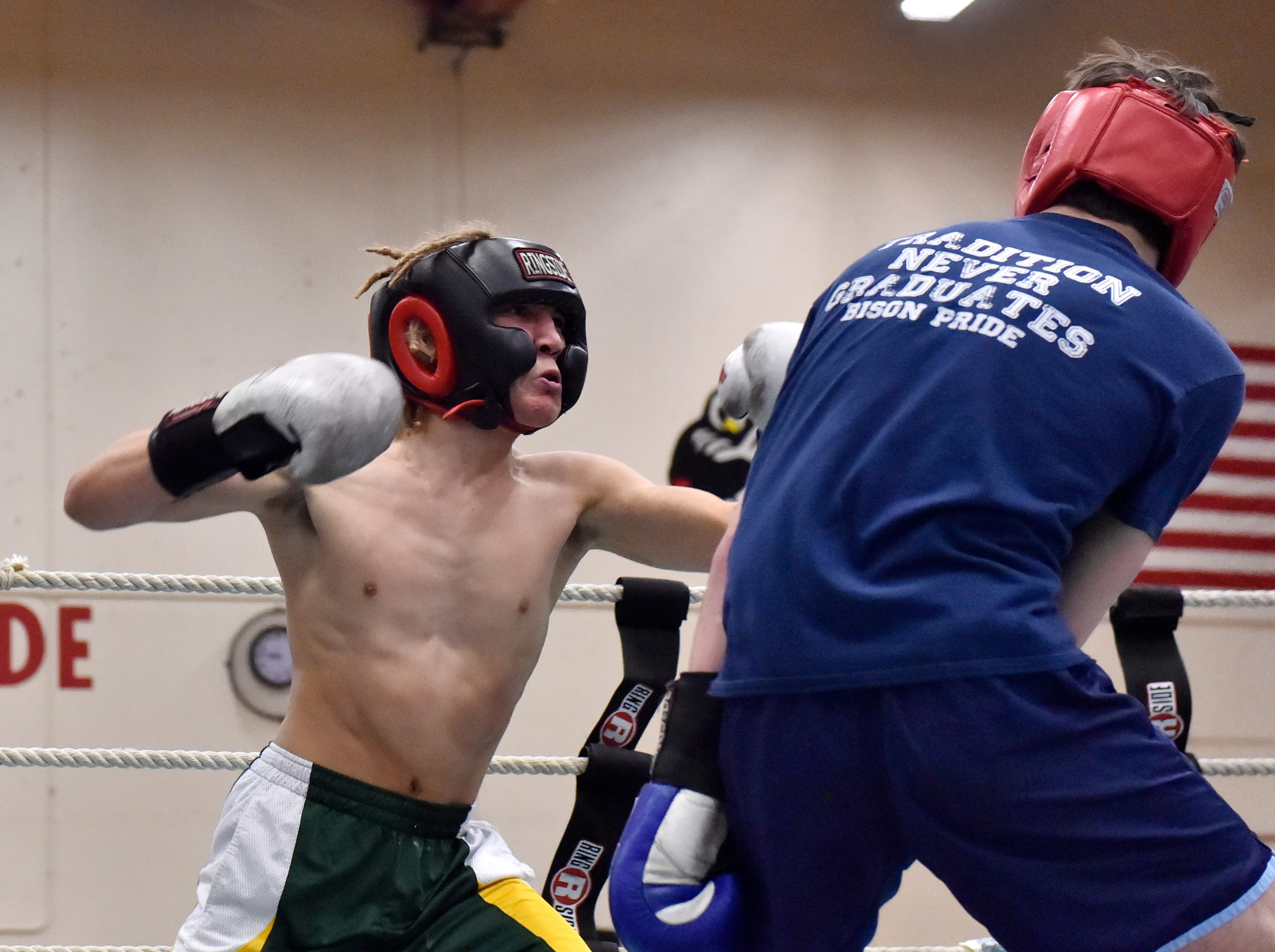 CMR's Logan Richard and Great Falls High's Braiden Lomas fight in the 2019 Crosstown Rumble on Friday night at Paris Gibson Education Center.