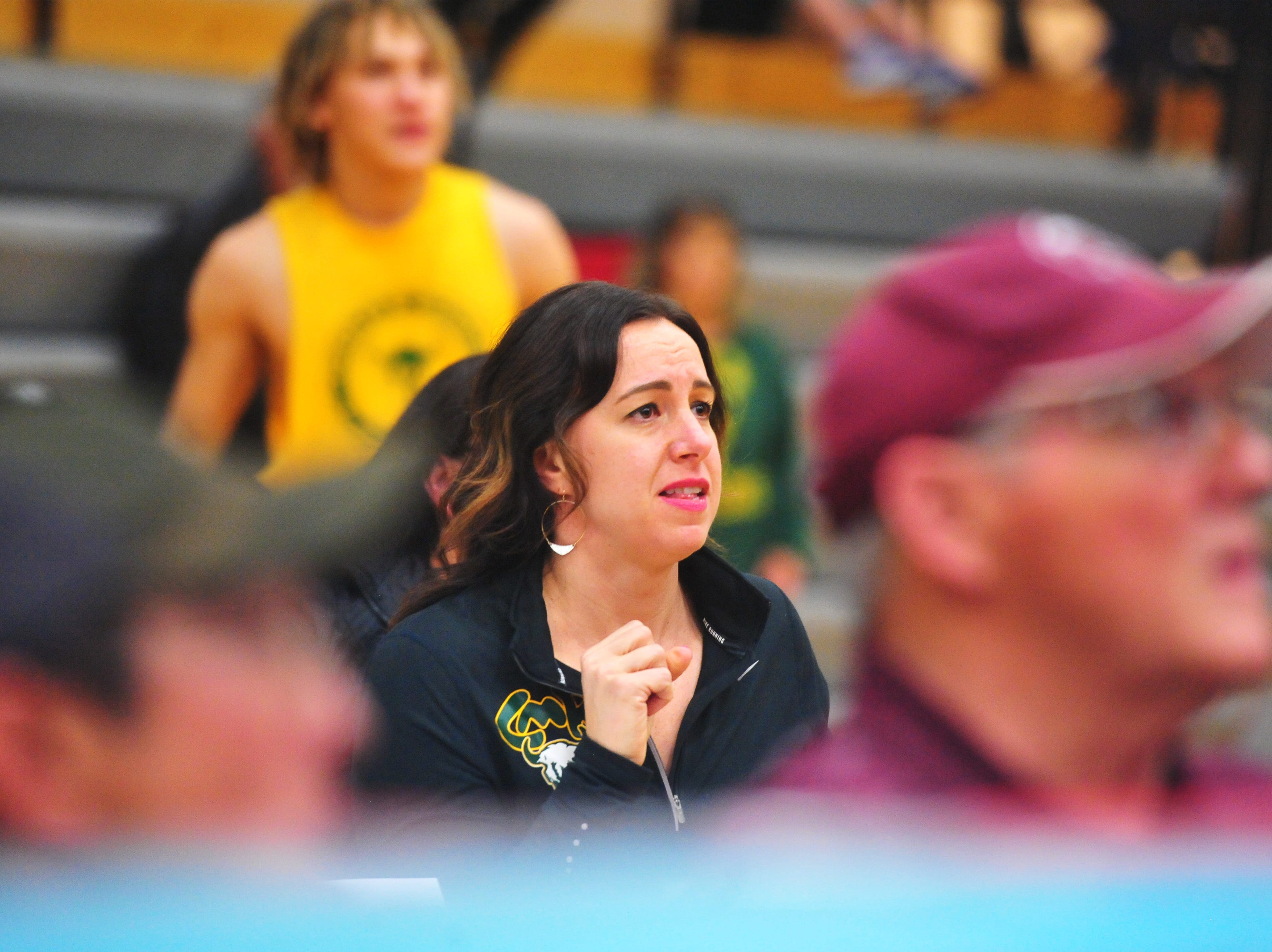 Leslie Simonson looks on as her son Jackson steps into the ring during the 2019 Crosstown Rumble, Friday night at Paris Gibson Education Center.
