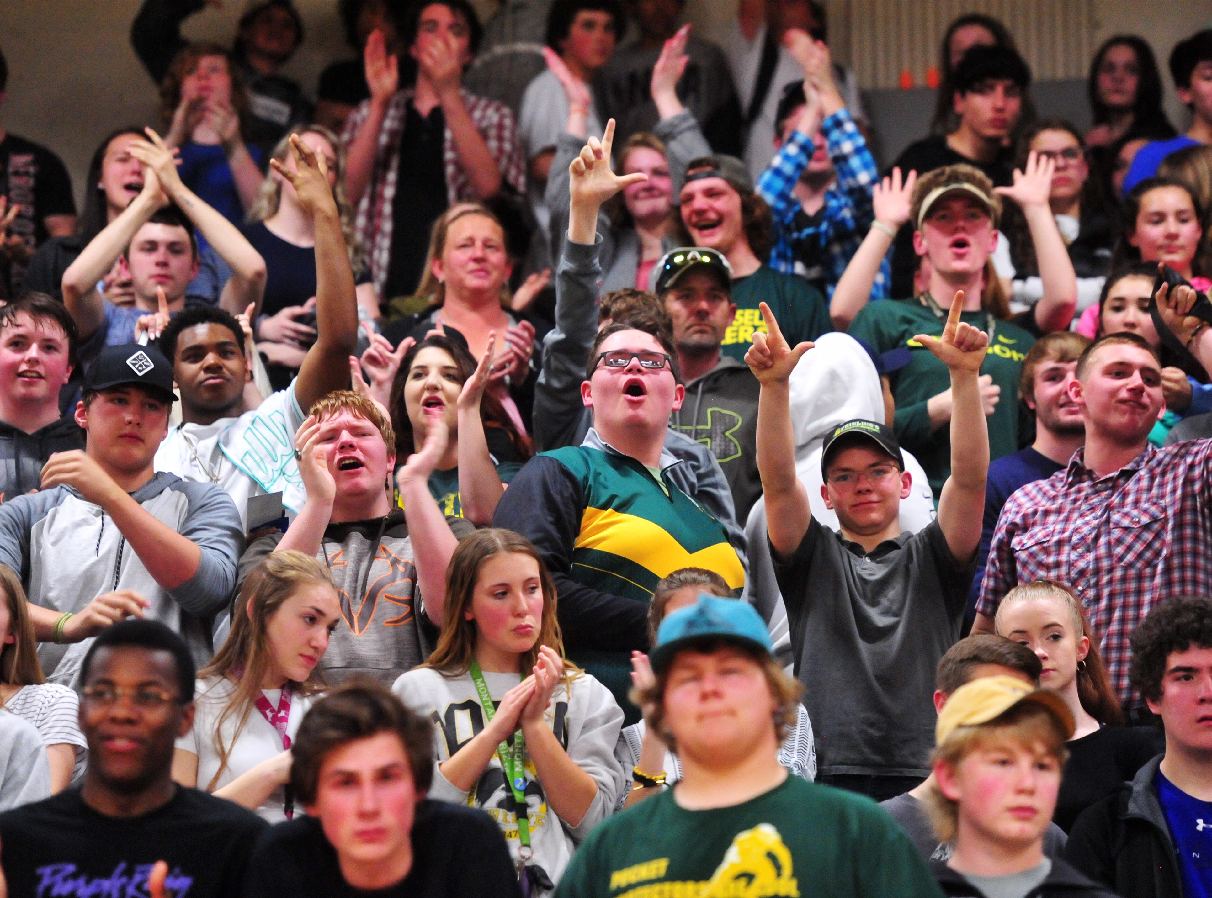 CMR student section at the 2019 Crosstown Rumble, Friday night at Paris Gibson Education Center.